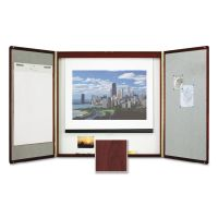 Quartet Marker Board Cabinet with Projection Screen, 48 x 48 x 24, White/Mahogany Frame QRT851