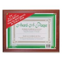 NuDell Award-A-Plaque Document Holder, Acrylic/Plastic, 10-1/2 x 13, Mahogany NUD18813M