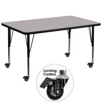 Flash Furniture Mobile Height Adjustable Rectangular Activity Table FHFXUA3672RECGYTPCASGG