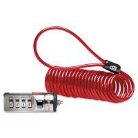 Kensington Portable Combination Laptop Lock, 6ft Steel Cable, Red KMW64671