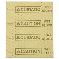 """Rubbermaid Commercial Over-the-Spill Pad, """"Caution Wet Floor"""", Yellow, 16 1/2"""" x 20"""", 22 Sheets/Pad RCP4252YEL"""