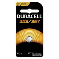 Duracell Button Cell Silver Oxide Calculator/Watch Battery, 303/357, 1.5V, 6/Box DURD303357PK