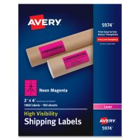 Avery Neon Shipping Label, Laser, 2 x 4, Neon Magenta, 1000/Box AVE5974