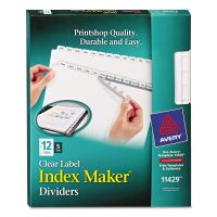 Avery Print & Apply Clear Label Dividers, 12-Tab, White Tab, Letter, 5 Sets AVE11429
