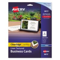 Avery Linen Texture True Print Business Cards, Inkjet, 2 x 3 1/2, Linen White, 200/Pk AVE8873