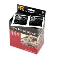 Read Right Tape Head Kleen Pad, Individually Sealed Pads, 5 x 5, 80/Box REARR1301