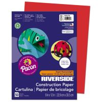 Pacon Riverside Construction Paper, 76 lbs., 9 x 12, Holiday Red, 50 Sheets/Pack PAC103442