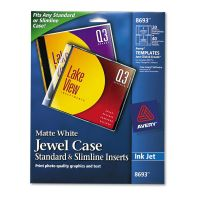 Avery Inkjet CD/DVD Jewel Case Inserts, Matte White, 20/Pack AVE8693
