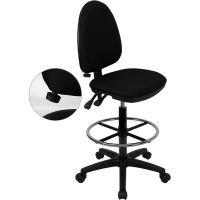 Flash Furniture Mid-Back Multi-Functional Drafting Chair with Adjustable Lumbar Support FHFWLA654MGBKDGG