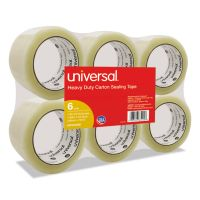 "Universal General-Purpose Box Sealing Tape, 48mm x 54.8m, 3"" Core, Clear, 6/Pack UNV63000"