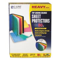 C-Line Top Loading Colored Polypropylene Sheet Protector, Letter, Heavyweight, Assorted Colors, 50/Box CLI62010