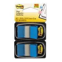 Post-it Flags Standard Page Flags in Dispenser, Blue, 100 Flags/Dispenser MMM680BE2