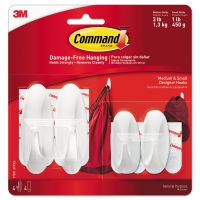 Command General Purpose Designer Hooks, S/M, 3lb Cap, White, 4 Hooks & 8 Strips/Pack MMM170812VPES