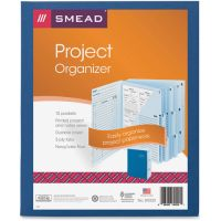 Smead Project Organizer Expanding File, 10 Pockets, Lake/Navy Blue SMD89200