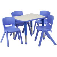 Flash Furniture 21.875''W x 26.625''L Adjustable Rectangular Blue Plastic Activity Table Set with 4 School Stack Chairs FHFYUYCY0980034RECTTBLBLUEGG