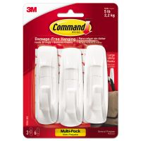 Command General Purpose Hooks Multi-Pack, Large, 5lb Cap, White, 3 Hooks & 6 Strips/Pack MMM170033ES