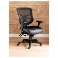 Alera Elusion Series Mesh Mid-Back Multifunction Chair, Black Leather ALEEL4215