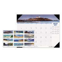 House of Doolittle Recycled Coastlines Photographic Monthly Desk Pad Calendar, 18 1/2 x 13, 2019 HOD1786