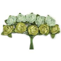 """Mini Paper Blooms .5"""" Flowers W/Wire Stems 10/Pkg NOTM272307"""