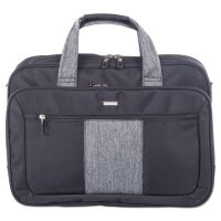 "Matt Executive Briefcase, 17"" x 5.5"" x 12.75"", Polyester, Black/Gray BUGEXB530"