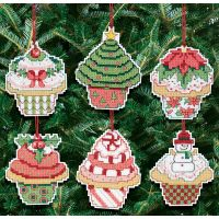 Christmas Cupcake Ornaments Counted Cross Stitch Kit NOTM488490