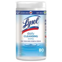 """LYSOL Brand Daily Cleansing Wipes, 8"""" x 7"""", White, 80 Wipes/Canister RAC99118EA"""