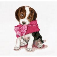 Puppy Love On Aida Counted Cross Stitch Kit NOTM299011