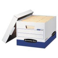 Bankers Box R-KIVE Max Storage Box, Letter/Legal, Locking Lid, White/Blue, 4/Carton FEL0724303