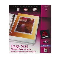 Avery Top-Load Poly Three-Hole Sheet Protectors, Letter, Heavy Weight, Non-Glare, Clear, 50/Box AVE74204
