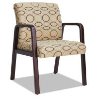Alera Reception Lounge Series Guest Chair, Mahogany/Tan Fabric ALERL4351M