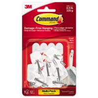 Command General Purpose Wire Hooks Multi-Pack, S, 1lb Cap, White, 9 Hooks & 12 Strips/PK MMM170679ES
