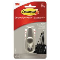 Command Adhesive Mount Metal Hook, Medium, Brushed Nickel Finish, 1 Hook & 2 Strips/Pack MMMFC12BNES