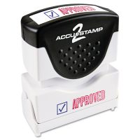 ACCUSTAMP2 Pre-Inked Shutter Stamp, Red/Blue, APPROVED, 1 5/8 x 1/2 COS035525