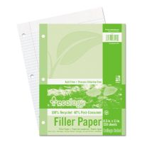 Pacon Ecology Filler Paper, 8-1/2 x 11, College Ruled, 3-Hole Punch, WE, 150 Sheets/PK PAC3202