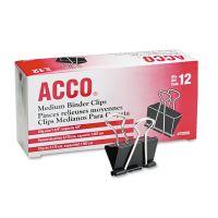 """ACCO Medium Binder Clips, Steel Wire, 5/8"""" Cap, 1 1/4""""w, Black/Silver, Dozen ACC72050"""