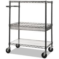 Alera Three-Tier Wire Cart with Basket, 34w x 18d x 40h, Black Anthracite ALESW543018BA