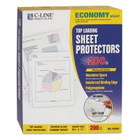 C-Line Top Loading Poly Sheet Protector, Letter, Economy Weight, Reduced Glare, Clear, 200/Box CLI62067