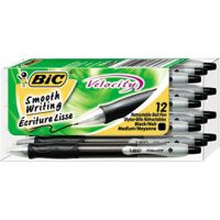 BIC Velocity Retractable Ballpoint Pen, Black Ink, 1mm, Medium, Dozen BICVLG11BK