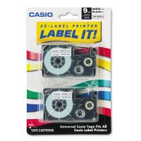 Casio Tape Cassettes for KL Label Makers, 9mm x 26ft, Black on White, 2/Pack CSOXR9WE2S