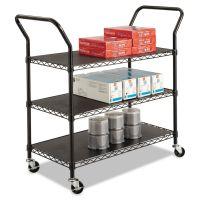 Safco Wire Utility Cart, Three-Shelf, 43-3/4w x 19-1/4d x 40-1/2h, Black SAF5338BL