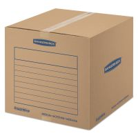 Bankers Box SmoothMove Basic Medium Moving Boxes, 18l x 18w x 16h, Kraft/Blue, 20/Bundle FEL7713901