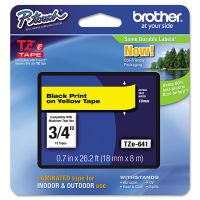"""Brother P-Touch TZe Standard Adhesive Laminated Labeling Tape, 3/4""""w, Black on Yellow BRTTZE641"""