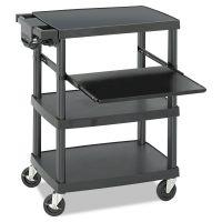 Safco Multimedia Projector Cart, Four-Shelf, 27-3/4w x 18-3/4 x 34-3/4, Black SAF8929BL