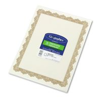 Geographics Parchment Paper Certificates, 8-1/2 x 11, Optima Gold Border, 25/Pack GEO39451