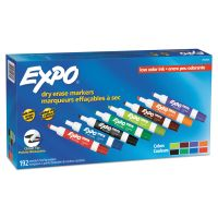 EXPO Low Odor Dry Erase Markers, Chisel Tip - Office Pack, Assorted, 192/PK SAN2003995