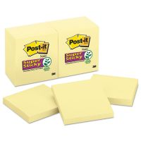 Post-it Notes Super Sticky Canary Yellow Note Pads, 3 x 3, 90-Sheet, 12/Pack MMM65412SSCY