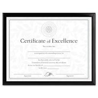 DAX Value U-Channel Document Frame w/Certificates, 8 1/2 x 11, Black DAXN17000N