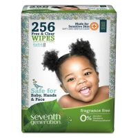 Seventh Generation Free & Clear Baby Wipes, Refill, Unscented, White, 256/Pack SEV34219