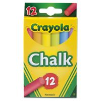 Crayola Chalk, Two Each of Six Assorted Colors, 12 Sticks/Box CYO510816
