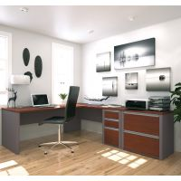 Bestar Connexion L-shaped workstation with lateral file in Bordeaux & Slate BESBES9388339